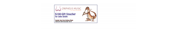 Orpheus Music Gift Voucher $100