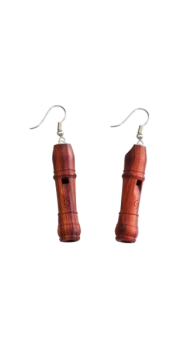 Miniature Recorder - Earrings - Tulipwood
