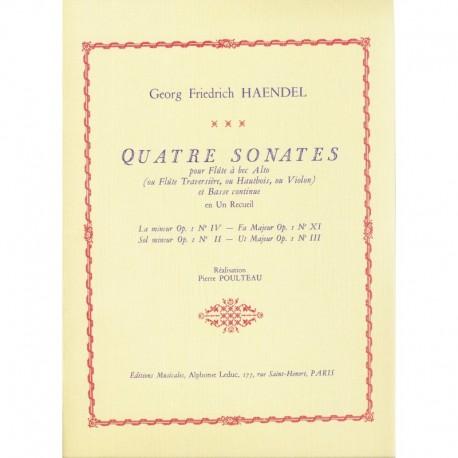 Quatre Sonates pour Flute a bec Alto Op 1 Nos II, III, IV & XI
