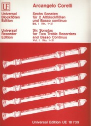 Six Sonatas for Two Treble Recorders and Basso Continuo.  Vol. 1 (No. 1-3)