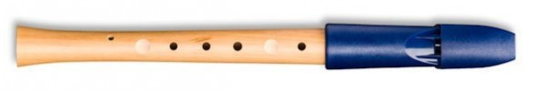Prima Pentatonic Recorder, Pearwood body/ Blue Plastic headjoint