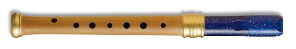 Adri's Dream Descant Recorder (Single holes), Pearwood body/ Blue-glitter Plastic headjoint